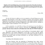 LETTER OF SPECIAL UN RAPPORTEURS TO THE GOVERNMENT OF MONTENEGRO